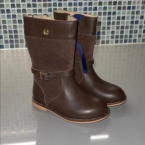 NWOT New Janie & Jack brown leather riding boots